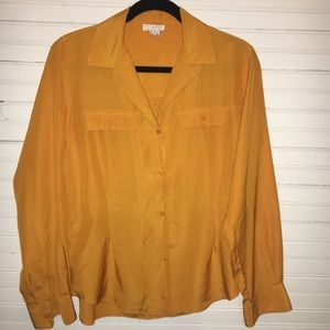 CHRISTIAN DIOR CHEMISES SIZE 8 YELLOW BLOUSE.